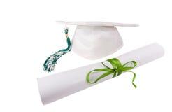 Tampão e diploma fotografia de stock