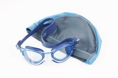 Tampão e vidros de natação imagem de stock royalty free