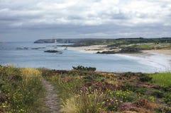 Tampão Frehel (Brittany, França): a praia Fotografia de Stock