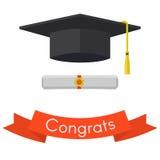 Tampão preto da graduação, diploma e ilustração vermelha do vetor da fita Fotos de Stock Royalty Free