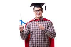 Tampão vestindo de graduação da placa do almofariz do estudante do super-herói isolado Imagem de Stock Royalty Free
