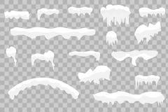 Tampões, bolas de neve e montes de neve da neve ajustados ilustração royalty free