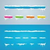 Tampões da neve na barra e nos botões de menu Decoração do ano novo ajustada para w Foto de Stock