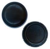 Tampões de garrafa plásticos pretos isolados Fotos de Stock