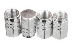 Tampões de válvula de alumínio de prata do pneu Fotografia de Stock