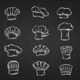 Tampões do cozinheiro chefe, chapéus e ícones dos toques Imagens de Stock Royalty Free