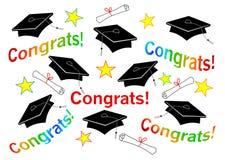 Tampões e Congrats da graduação ilustração royalty free