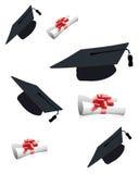 Tampões e diplomas da graduação Fotos de Stock Royalty Free
