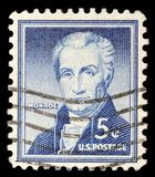 Tamp printed in the United States shows portrait of the fifth President of the United States James Monroe. A stamp printed in the United States shows portrait of Royalty Free Stock Images