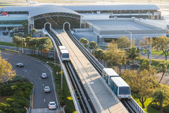 Tampa Airport Airside Shuttle Cars. Modern airside to terminal shuttle cars at Tampa International Airport Royalty Free Stock Photo