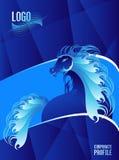 Tampa azul do perfil incorporado do cavalo árabe do garanhão ilustração royalty free