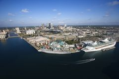 Tampa Bay Area. Aerial view of Tampa Bay Area, Flordia with water and cruise ship royalty free stock images