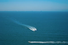 Open water ocean aerial view with boats Stock Image
