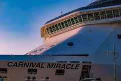 Partial view of Carnival Miracle on Cruise Terminal 3 at Port 2. Tampa Bay, Florida. April 28, 2019. Partial view of Carnival Miracle on Cruise Terminal 3 at royalty free stock images