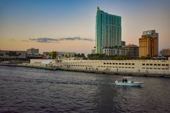 Panoramic view of Tampa Museum of Art, Riverwalk and Hillsborough river on sunset background in downtown area 2 royalty free stock photos