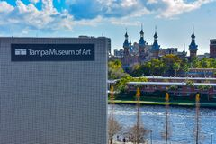 Top view of Tampa Museum of Art , Hillsborough river and Henry B. Plant Museum in downtown area. stock images