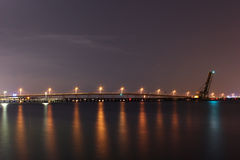 Tampa Bay - Railroad DrawBridge at Night Royalty Free Stock Photos
