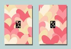 Tampa com elementos gráficos - corações ilustração stock