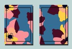 Tampa com flor Dois moldes florais do vetor dos insetos Formato A4 ilustração royalty free