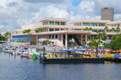 Tampa Convention Center during IBEX 2016. October 4, 2016 -Tampa, Florida - USA -  Tampa Convention Center with floating docks in place during the 2016 Royalty Free Stock Photos