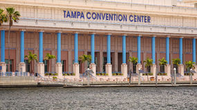 Tampa Convention Center and Small Boat in Downtown Tampa, Florid. A Stock Image