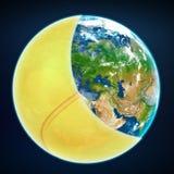 Tampa da bola de tênis a terra do planeta ostenta o mundo Foto de Stock