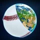 Tampa da bola do basebol a terra do planeta ostenta o mundo Foto de Stock Royalty Free