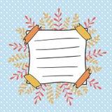 Tampa da garatuja do outono para o caderno das crianças Quadro bonito das folhas no fundo do às bolinhas De volta à decoração da  Foto de Stock Royalty Free