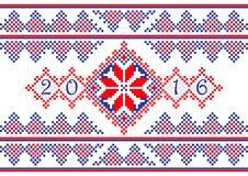 Tampa de 2016 calendários com teste padrão redondo étnico do ornamento nas cores de azul vermelho brancas Foto de Stock Royalty Free