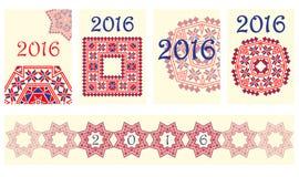 Tampa de 2016 calendários com teste padrão redondo étnico do ornamento nas cores de azul vermelho brancas Imagem de Stock Royalty Free