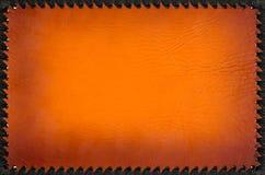 Tampa de couro alaranjada à moda do álbum de fotografias com quadro preto Fotografia de Stock