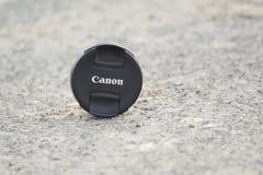 Tampa de lente de Canon Imagens de Stock