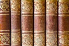 Tampa de livros de Brown com testes padrões dourados em seguido como o backgro Fotos de Stock