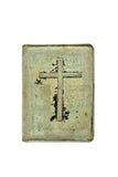 Tampa de livros velhos nela um crucifix Fotografia de Stock