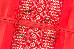 Tampa de seda da textura do descanso do coxim do estilo tailandês Imagens de Stock Royalty Free