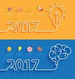 Tampa do calendário do ano novo 2017 do vetor ilustração royalty free