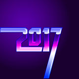tampa do calendário do ano 2017 novo, ilustração tipográfica do vetor Fotografia de Stock