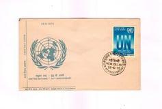 Tampa do dia de 1970 Indian UN de comemoração da primeira Fotografia de Stock Royalty Free
