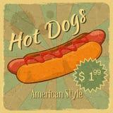 Tampa do Grunge para o pre?o dos cachorros quentes Fotografia de Stock Royalty Free