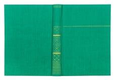 Tampa do Livro Verde de matéria têxtil do vintage com teste padrão do ouro foto de stock