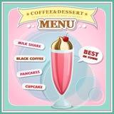 Tampa do menu do gelado ilustração stock
