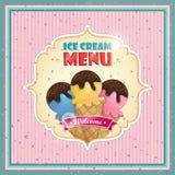 Tampa do menu do gelado Foto de Stock