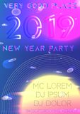 Tampa 2019 do partido do ano novo futuristic ilustração royalty free
