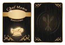 Tampa do restaurante do menu do cozinheiro chefe ou placa - vetor 2 Foto de Stock