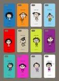 Tampa do telefone celular para trás, 12 meninas engraçadas para o seu ilustração stock