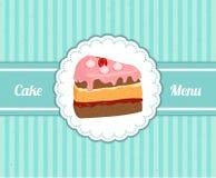 Tampa do teste padrão do vetor o menu das sobremesas para o café com uma fatia de bolo delicioso ilustração do vetor