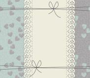 Tampa elegante com quadro do laço, corações elegantes e curvas ilustração do vetor