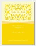 Tampa floral do convite do ouro Imagens de Stock Royalty Free