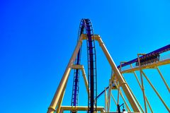 The adventure begins with calm ascent, then people will enjoy high speed ride in Montu at Bush Gardens Theme Park. Tampa, Florida. December 26, 2018 The royalty free stock photos