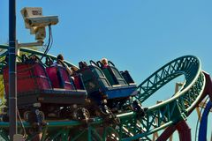 Cobra`s roller coaster`s air-conditioned queue naturally fuels adrenaline with an immersive themed experience. Tampa, Florida. December 26, 2018 Cobra`s roller stock photo